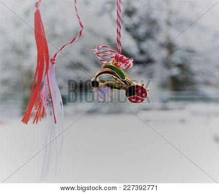 Martisor - Romanian Symbol Of The Beginning Of Spring. This Decoration Is Worn Near Heart During Mar