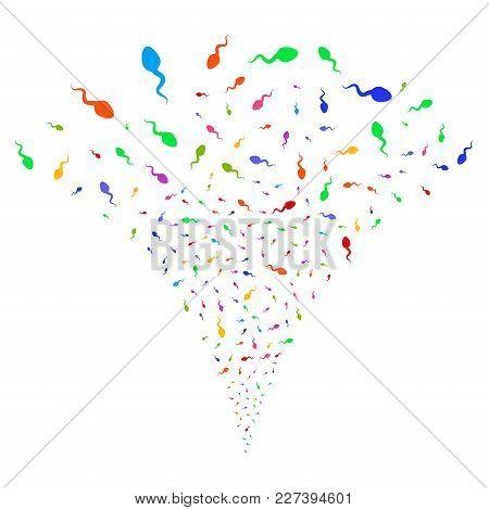 Multi Colored Spermatozoon Burst Fountain. Object Fountain Created From Random Spermatozoon Design E