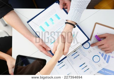 Man In Suit Shake Hand As Hello In Office Closeup Top View. Friend Welcome Mediation Offer Positive