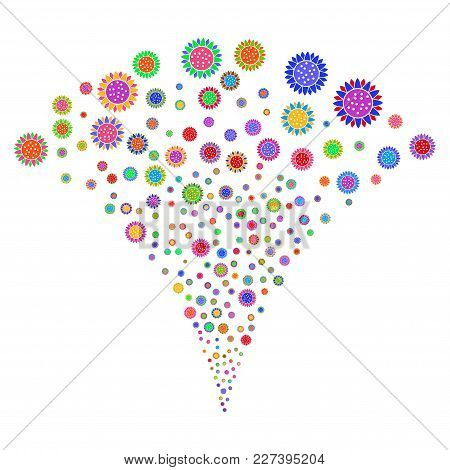 Multicolored Sunflower Fireworks Fountain. Object Fountain Organized From Random Sunflower Pictograp