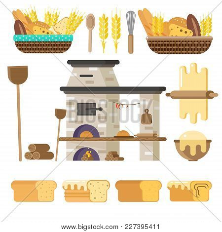 Oven For Baking Bread Or Pizza. Vector In Flat Style. Everything For Baking.