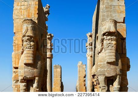 Old Ruins Of The Ancient City Persepolis. Gate Of All Nations. Ancient Persia. Iran. Shiraz.
