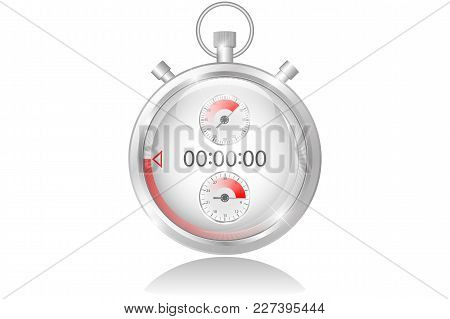 Metallic Stopwatch, Close-up Front View, Time Concept, Vector Illustration, Isolated Object On White