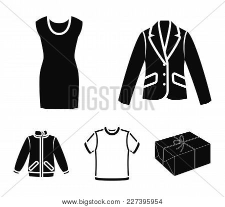 A Mans Jacket, A Tunic, A T-shirt, A Business Suit. Clothes Set Collection Icons In Black Style Vect