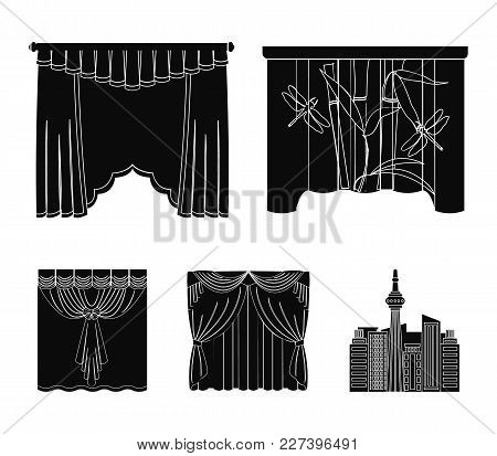 Embroidery, Textiles, Furniture And Other  Icon In Black Style.curtains, Stick, Cornices, Icons In S