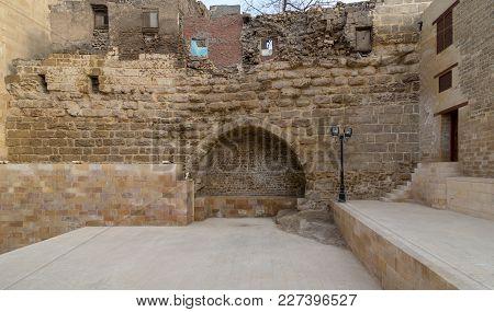 Cairo, Egypt - February 9, 2018: Courtyard Of Tekkeyet Al-bustami With Big Embedded Niche Mediating