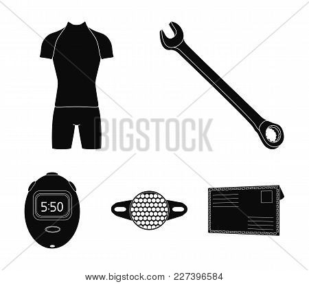 A Wrench, A Bicyclist's Bone, A Reflector, A Timer.cyclist Outfit Set Collection Icons In Black Styl