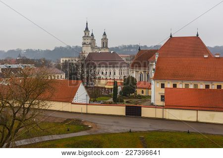 View On Old Lithuanian City Kaunas In Cloudy Day.