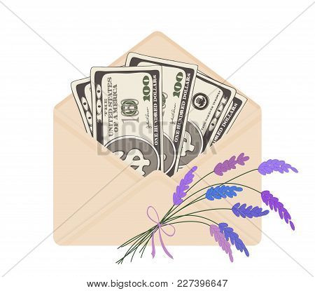 Usa Banking Currency In Open Beige Envelope With Bouquet Of Lavender. One Hundred Dollar Bills As Gi