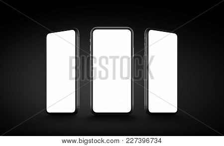 Smartphone in iPhone X style multi screen mockup. Several front view smartphones with blank screens on dark background. Smartphone multi screen mockup. 3D illustration.