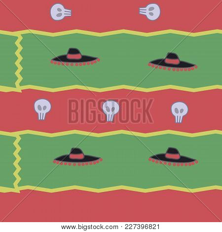 Red Green Stripes Of Bright Shards And Hats Of Mexican Style Seamless Pattern