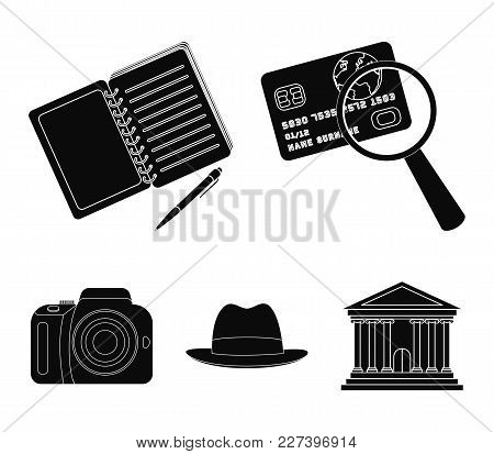 Camera, Magnifier, Hat, Notebook With Pen.detective Set Collection Icons In Black Style Vector Symbo