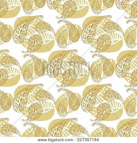 Beautiful Oriental Vintage Hand Drawn Seamless Pattern With Paisley. Golden Pattern. Use For Printin