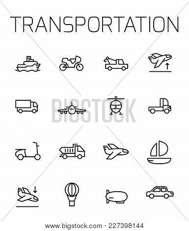 Transportation Related Vector Icon Set. Well-crafted Sign In Thin Line Style With Editable Stroke. V