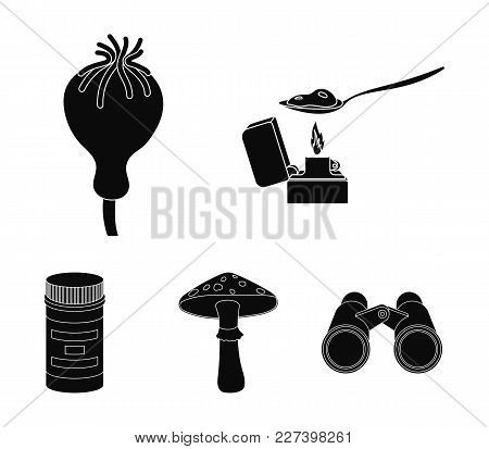 Heroin In A Spoon, Mushroom Galyutsinogenny, Opium Poppy, Tablets. Drugs Set Collection Icons In Bla