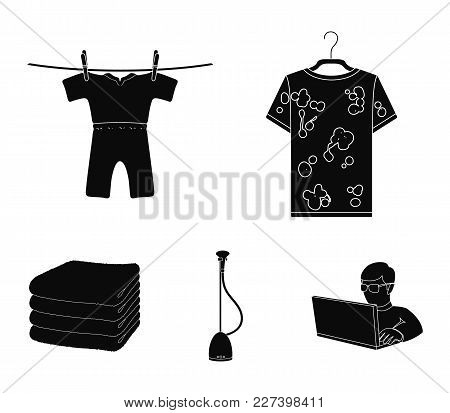 Vacuum Cleaner, A Stack Of Cloth, Dirty And Clean Things. Dry Cleaning Set Collection Icons In Black