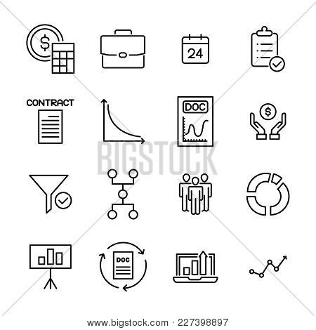 Simple Collection Of Strategy Related Line Icons. Thin Line Vector Set Of Signs For Infographic, Log