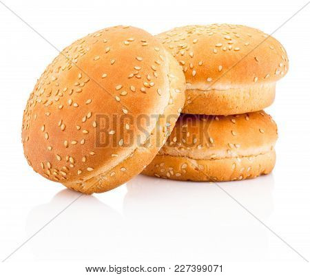 Three Hamburger Buns With Sesame Isolated On White Background