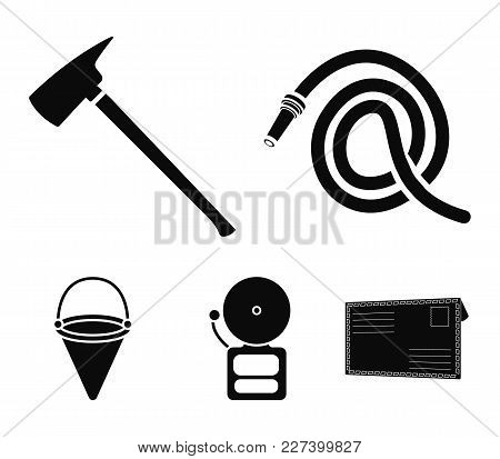 Ax Fireman, Hose, Siren, Bucket.fire Department Set Collection Icons In Black Style Vector Symbol St
