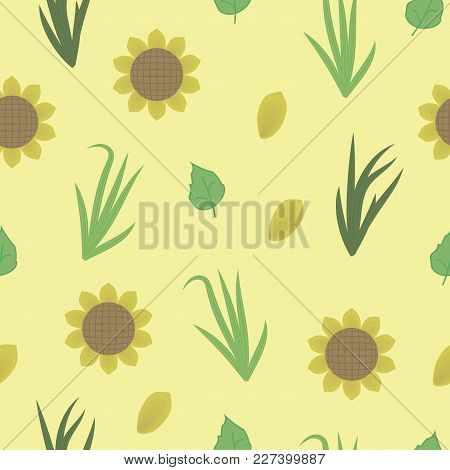 Yellow Sunny Sunflowers With Green Leaves And Yellow Petals And Grasses On A Yellow Background Seaml