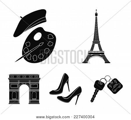 Eiffel Tower, Brush, Hat .france Country Set Collection Icons In Black Style Vector Symbol Stock Ill