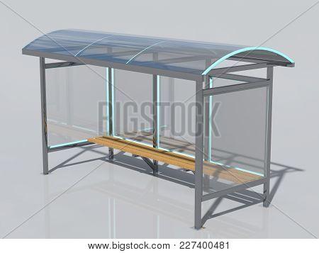 Bus Stop. A Public Transport Stop. 3D Rendering.