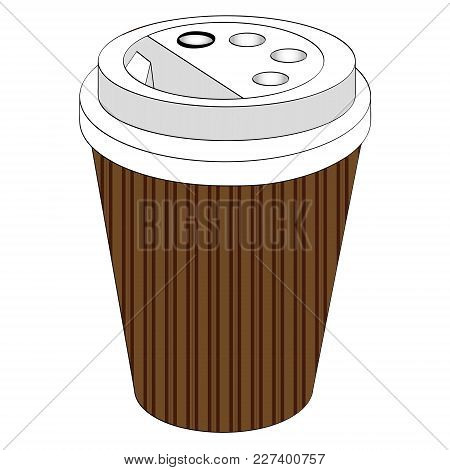 A Glass Of Coffee Or Tea Take-away, With You. Disposable Tableware, Paper Cup. Vector Illustration.