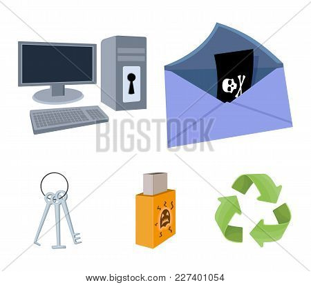 Virus, Monitor, Display, Screen .hackers And Hacking Set Collection Icons In Cartoon Style Vector Sy