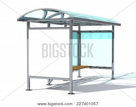 Advertising Space Mock Up. A Bus Stop Made Of Glass And Metal With A Bench For Sitting. Blank Poster