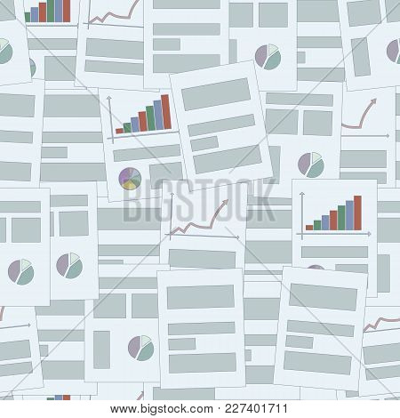 Blue Office Business Sheets Of Paper With Colourful Graphs And Articles Seamless Pattern