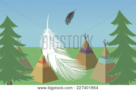 Vector Forest Landscape With Green Pines, Wigwams, Feathers And Blue Sky Green Grass Rectangular