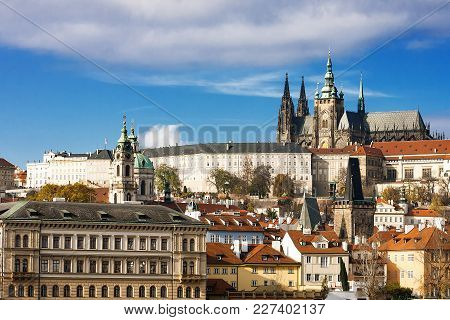 Panorama Of Prague Castle And St. Vitus Cathedral. Prague, Czech Republic