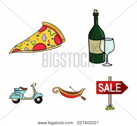 A Bottle Of Wine, A Piece Of Pizza, A Gundola, A Scooter. Italy Set Collection Icons In Cartoon Styl
