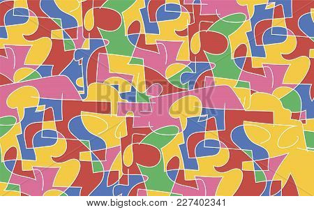 Bright Saturated Colorl Vektor Composition From Figures With A White Stroke Background
