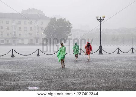 Novorossiysk, Russia - May 28, 2016: A Heavy Rain On The Embankment Of Novorossiysk. Heavy Rain.