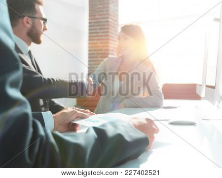 financial graph in hands of the businessman.business background