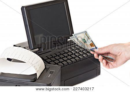Payment For Purchases In The Store By Cash. Rackmount Lcd Touchscreen Monitor And Receipt Printer Wi