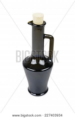 Brown Glass Bottle For Olive Oil, Isolated