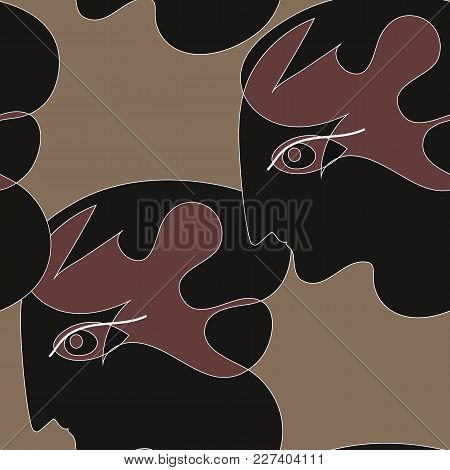 Black Figure Face Of A Greek Girl On A Brown Background With A White Stroke Seamless Pattern.