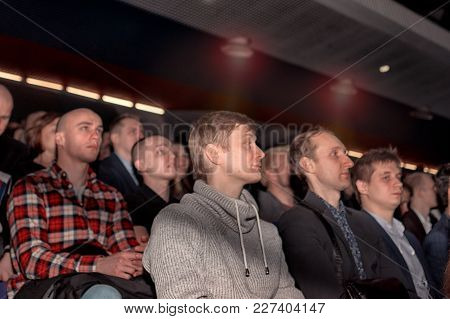 Moscow, Russia - February 19, 2018: Audience At The Business Conference For Entrepreneurs `transform