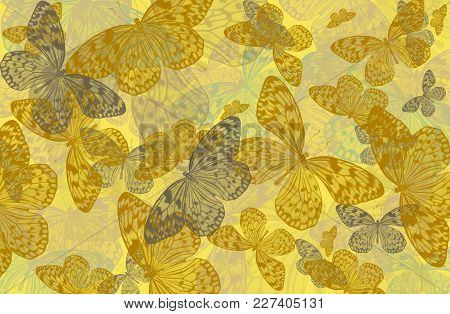 Abstract Art Background Of Butterflies  Idea Leuconoe In Yellow Tones