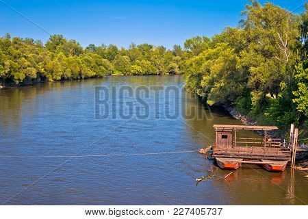 Mura River Ferry Boat And Green Landscape, Medjimurje Region Of Croatia