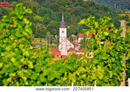 Village Of Strigova Towers And Green Landscape Through Vineyard View, Medjimurje Region Of Croatia