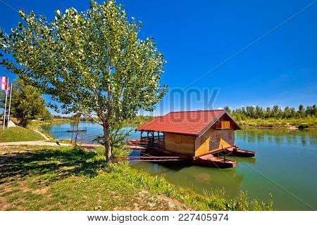 Drava River Floating Wooden Cabin, Donja Dubrava, Medjimurje Region Of Croatia