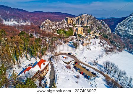 Kalnik Mountain Winter Aerial View, Fortress On Cliff And Lodge Under Rock, Prigorje Region Of Croat