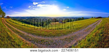 Green Landscape Of Medjimurje Region Panoramic View From Hill, Northern Croatia