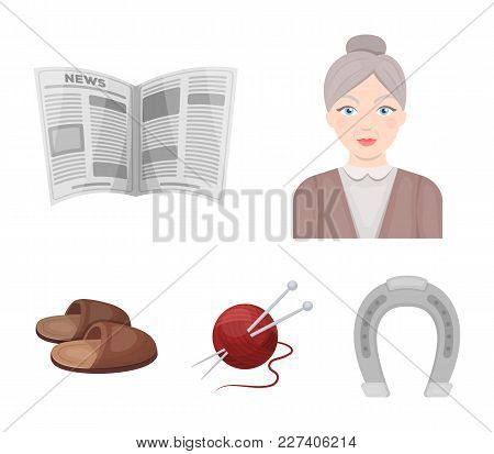 An Elderly Woman, Slippers, A Newspaper, Knitting.old Age Set Collection Icons In Cartoon Style Vect
