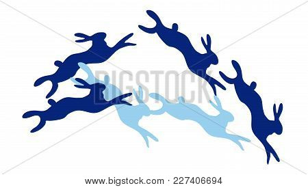 Funny Colored Rabbits Playing On White Background