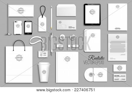 Corporate Identity Template Set. Business Stationery Mock-up With Logo. Branding Design. White Empty