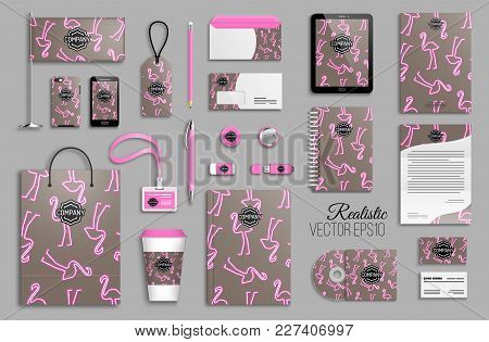 Corporate Identity Template Set. Business Stationery Mock-up With Logo. Branding Design. Pink Flamin